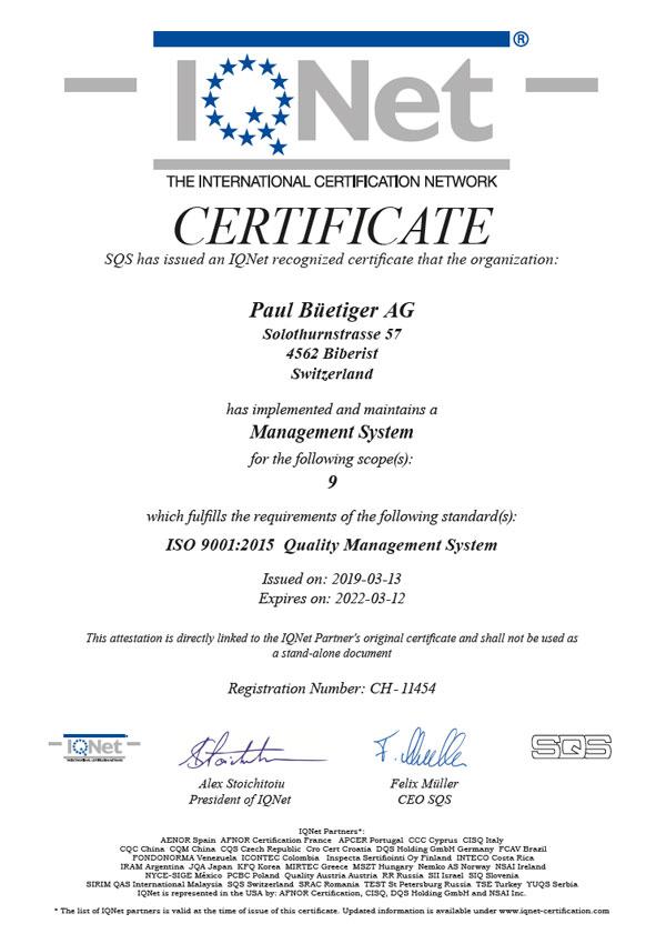 Büetiger AG - Zertifikate